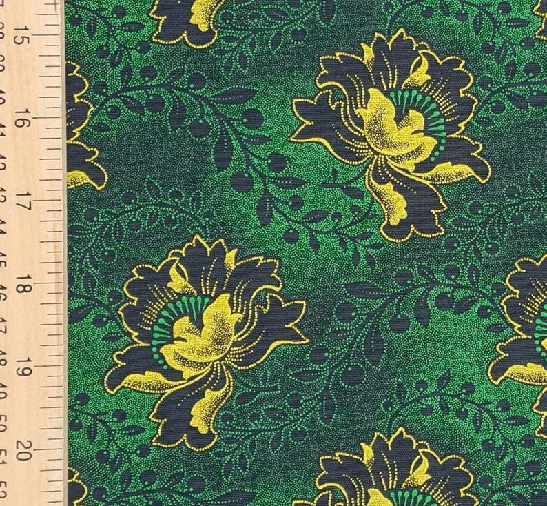 Green and yellow floral on black shweshwe (0528)