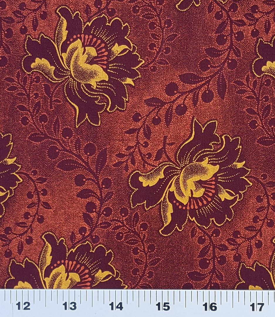 Burgundy floral shweshwe fabric (0528)