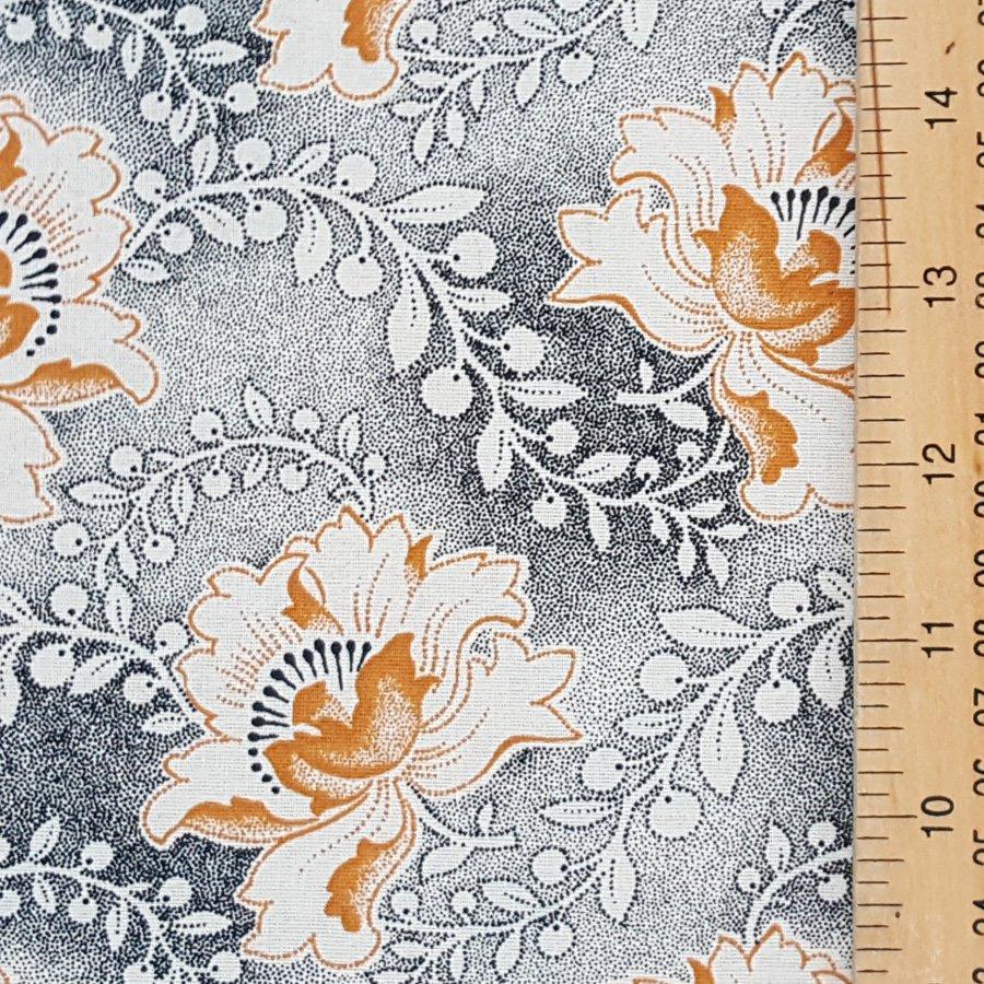 Da Gama Mustard and black on cream floral shweshwe fabric (0528)
