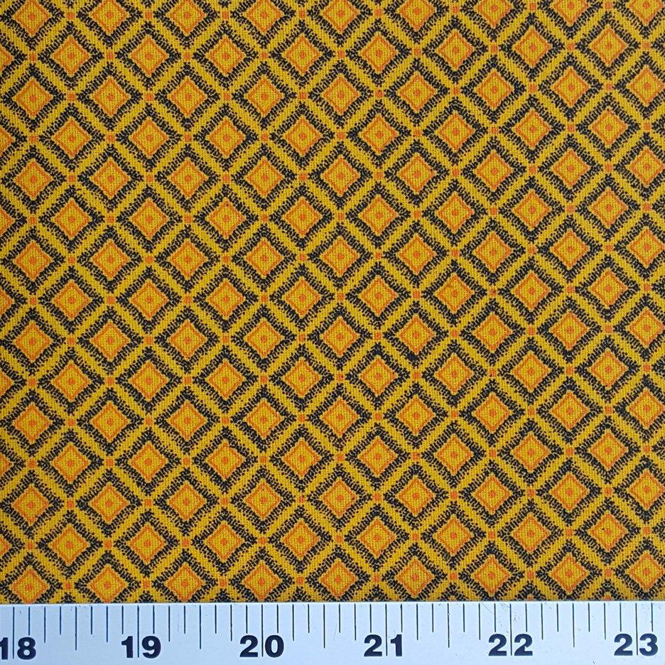 Da Gama Golden Yellow and orange small squares shweshwe (0904)