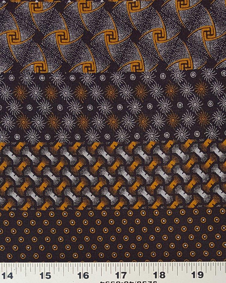 Gold on dark brown shweshwe border fabric (0971)