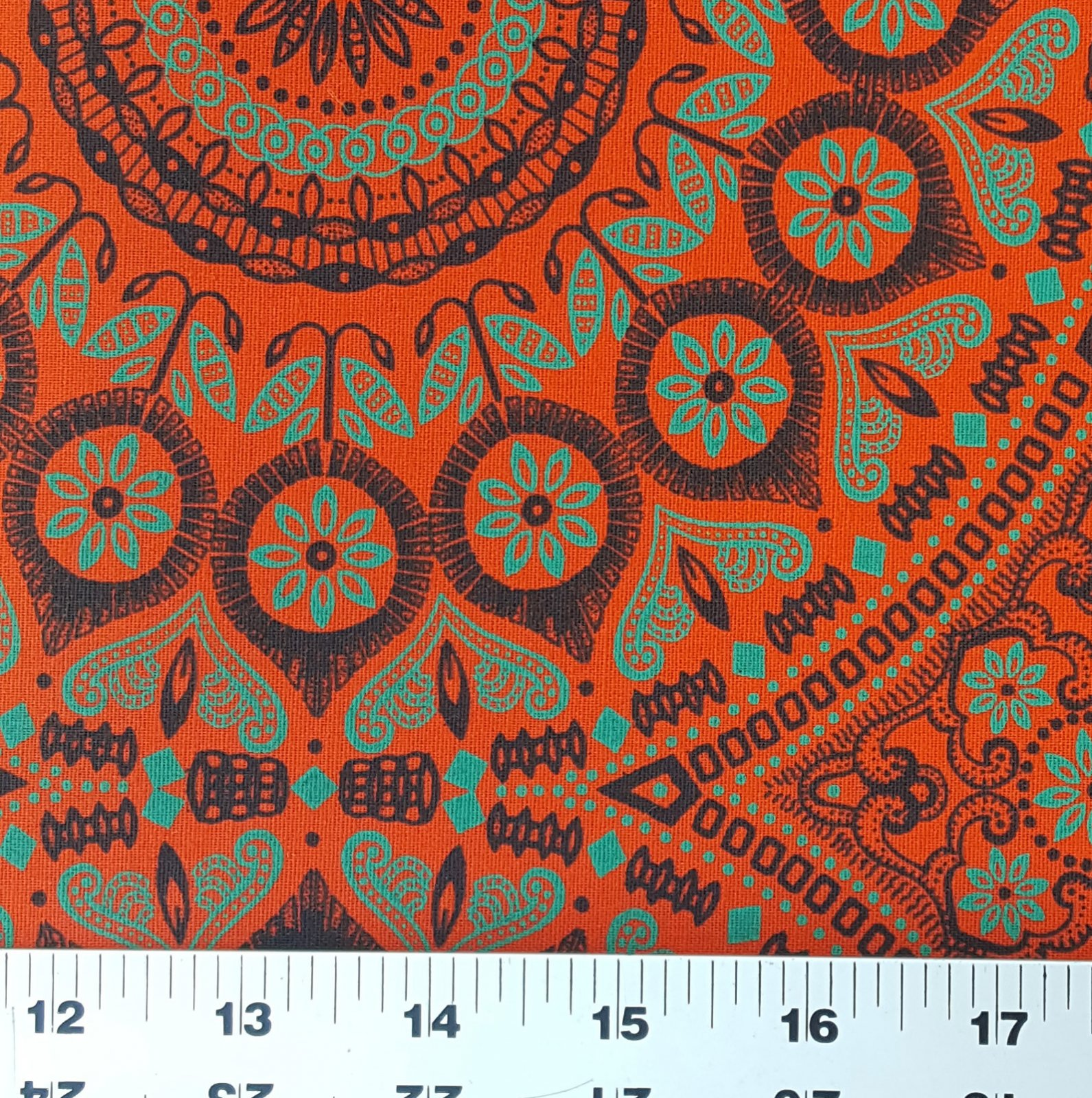 Orange jade green and black shweshwe fabric (0527)
