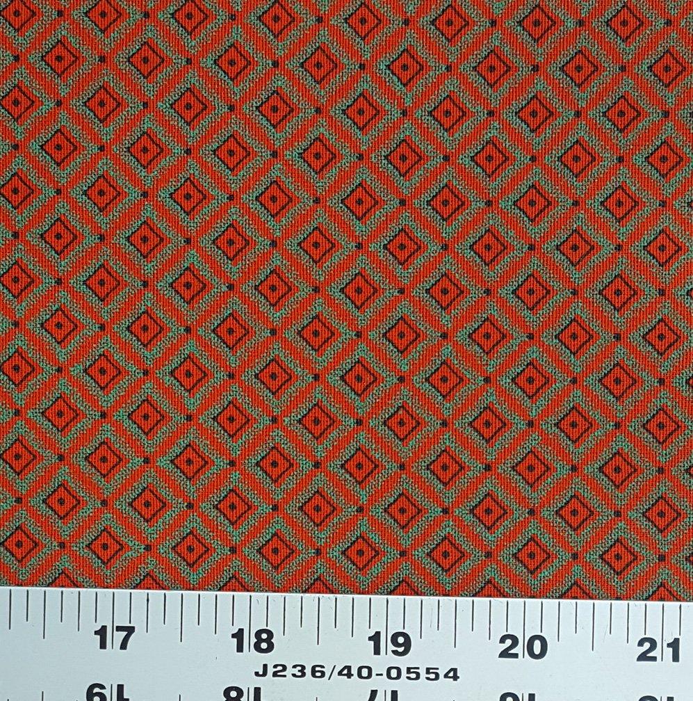 Orange jade green and black shweshwe fabric (0904)
