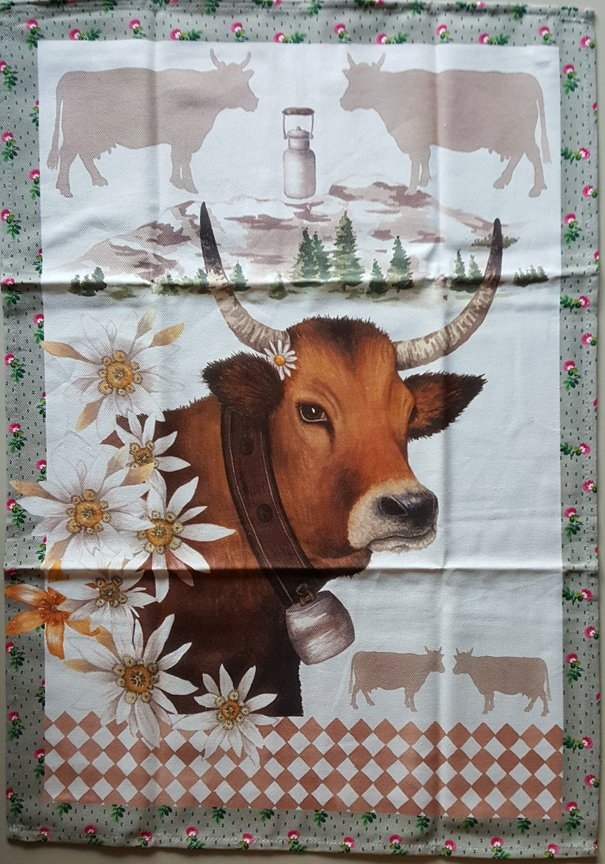 STOF Alpine Cow tea towel