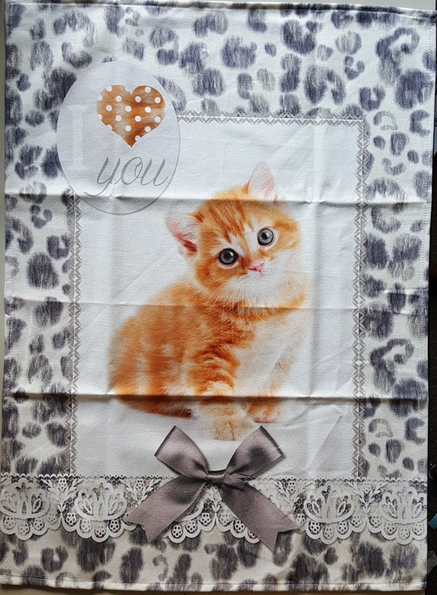 STOF Orange Kitten tea towel