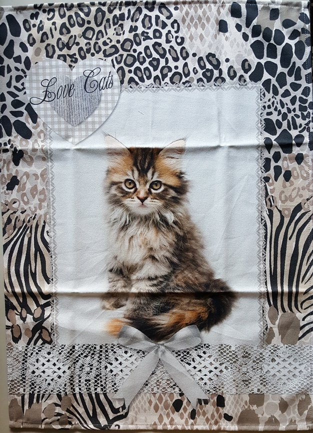STOF Fluffy Kitten tea towel