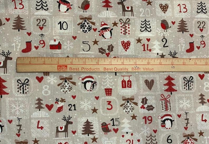 French Tan Advent Calendar Fabric (62 wide)