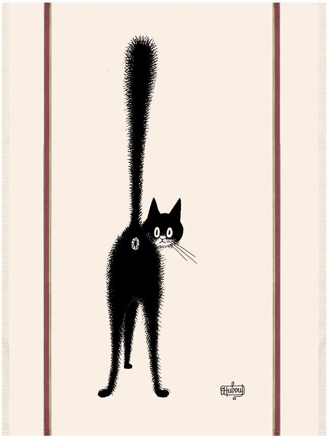 Dubout Cat Hello? tea towel