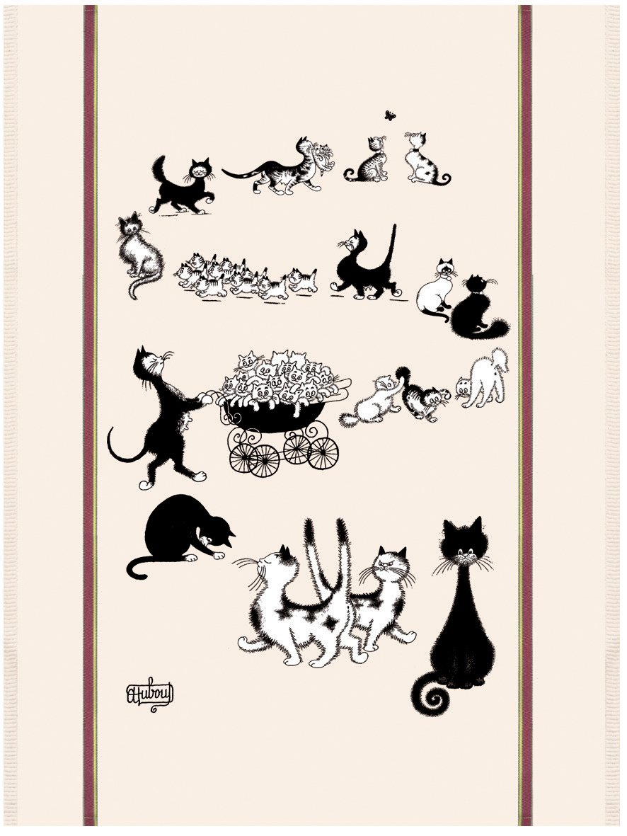 Dubout Cat Afternoon Stroll tea towel