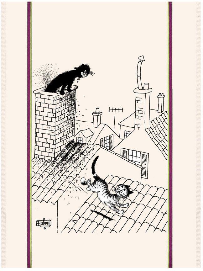 Dubout Cat on Roof tea towel