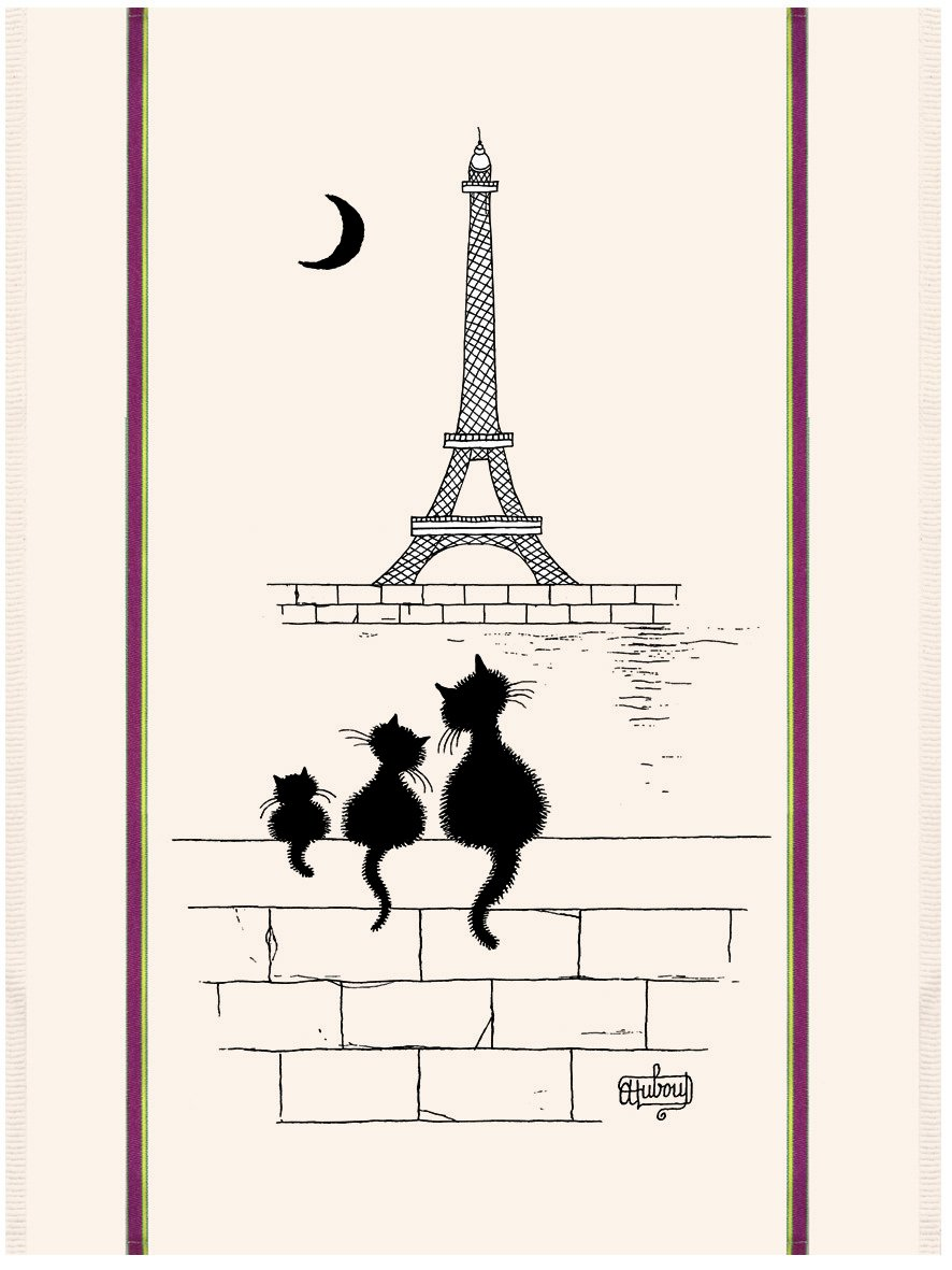 Dubout Cat in Paris tea towel