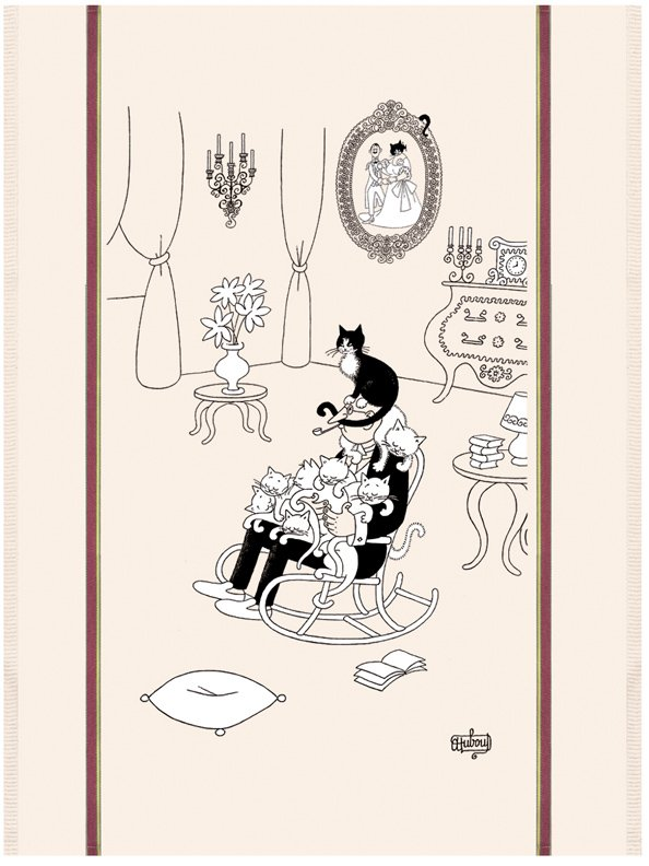Dubout Cat Nap tea towel