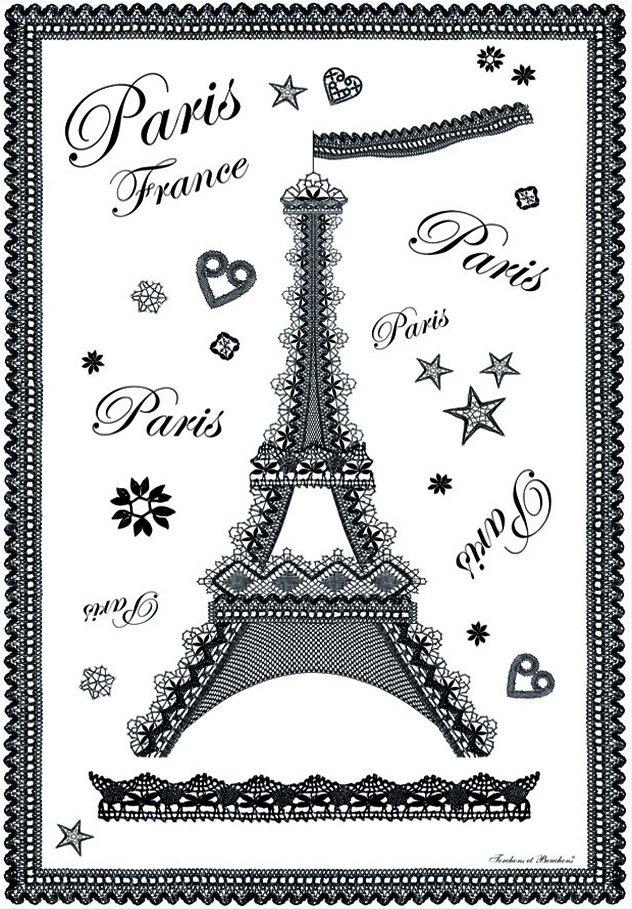 Torchons & Bouchons Lace Eiffel Tower tea towel