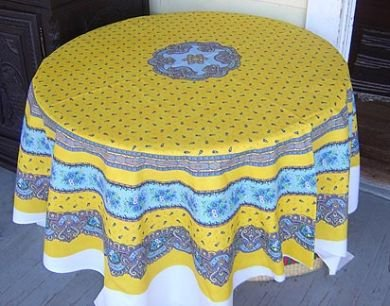 Yellow round tablecloth panel #79