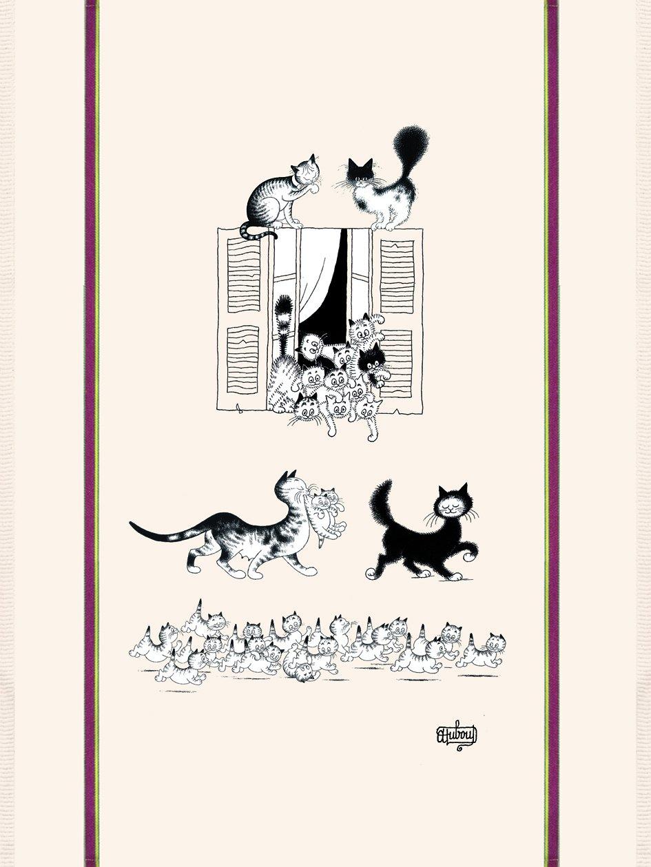 Dubout Cat Window tea towel