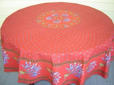 70 French Acrylic-Coated Round Tablecloth Lavender (Red)