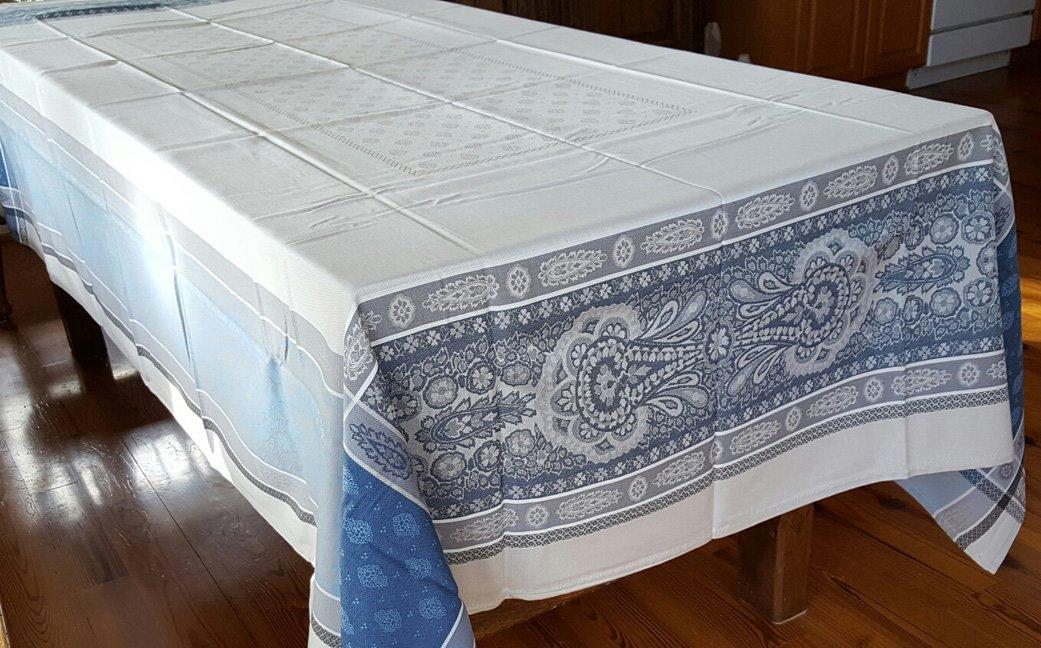 5 Sizes French Jacquard Tablecloths Bastide (Blue & Tan)