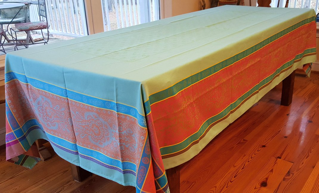 5 Sizes French Jacquard Tablecloths Bastide (Turquoise)
