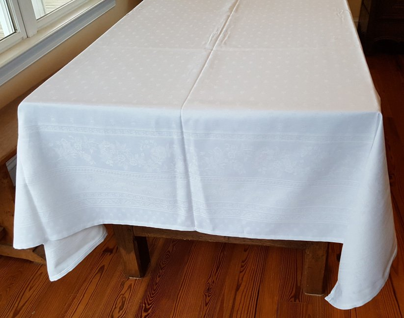 5 Sizes French Jacquard Tablecloths Bastide (White)