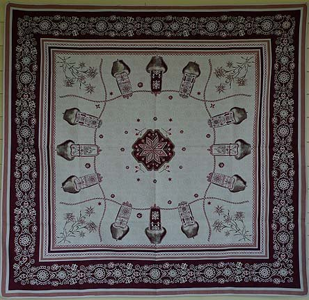 70 French Square Table Topper Double Weave Alpine (Bells)