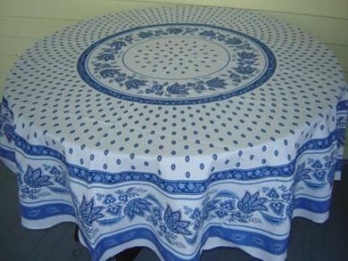 70 French Acrylic-Coated Round Tablecloth Lisa (Blue & White)