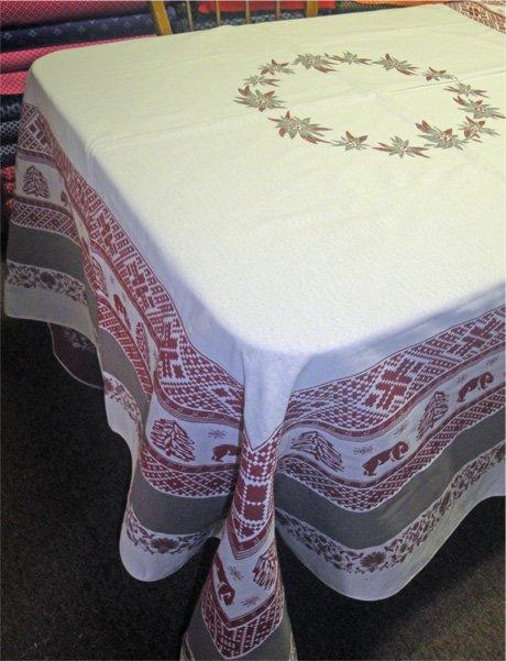 72 French Jacquard Rectangular Tablecloth Reversible Combloux (Nature)