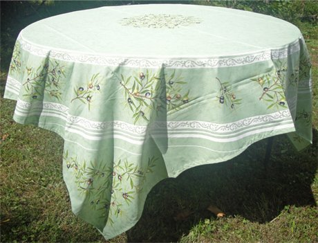 70 French Cotton Round Tablecloth Olive (Green)