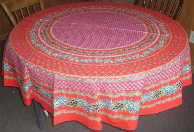 70 French Acrylic-Coated Round Tablecloth Olive & Mimosa (Red)