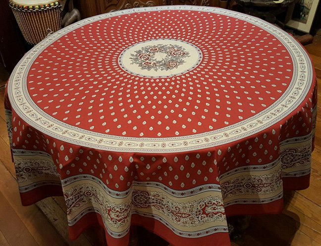 70 French Cotton Round Tablecloth Bastide (Red)