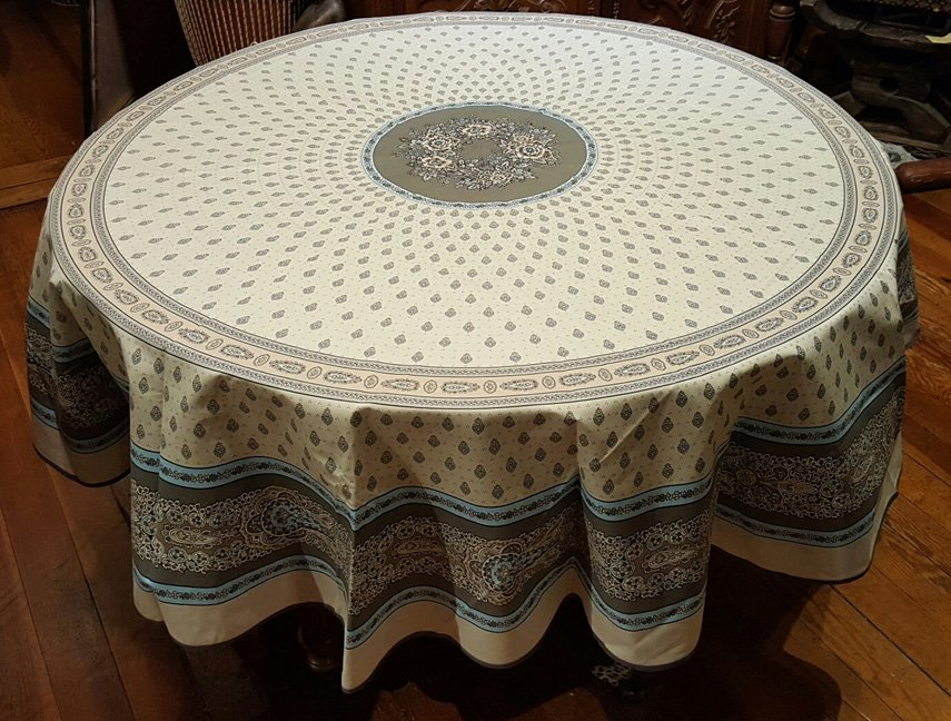 70 French Cotton Round Tablecloth Bastide (Turquoise)