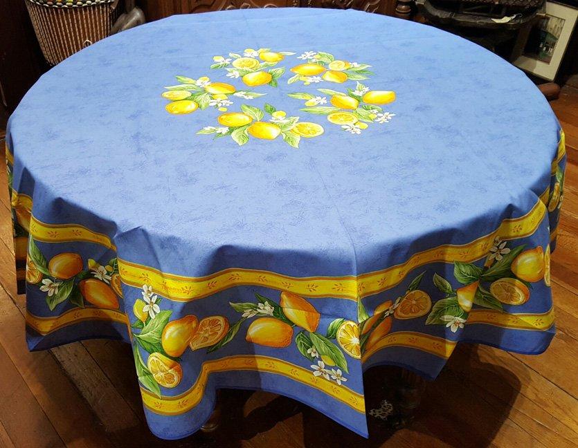 70 French Cotton Round Tablecloth Lemon (Blue)