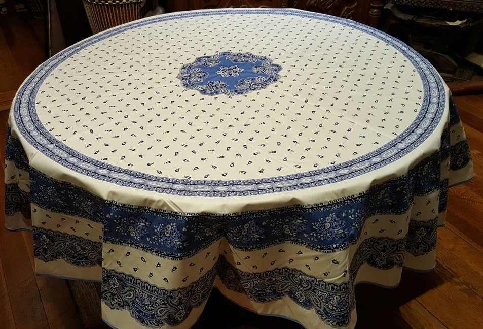 70 French Acrylic-Coated Round Tablecloth Tradition (Blue & White)