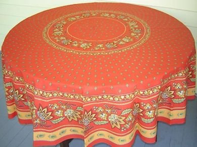 70 French Cotton Round Tablecloth Lisa (Red)