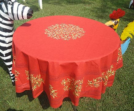 70 French Cotton Round Tablecloth Olive (Red)
