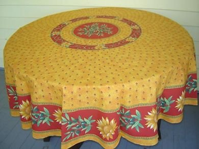 70 French Cotton Round Tablecloth Sunflower (Gold)