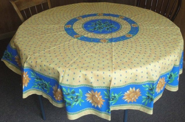 70 French Acrylic-Coated Round Tablecloth Sunflower (Blue & Yellow)