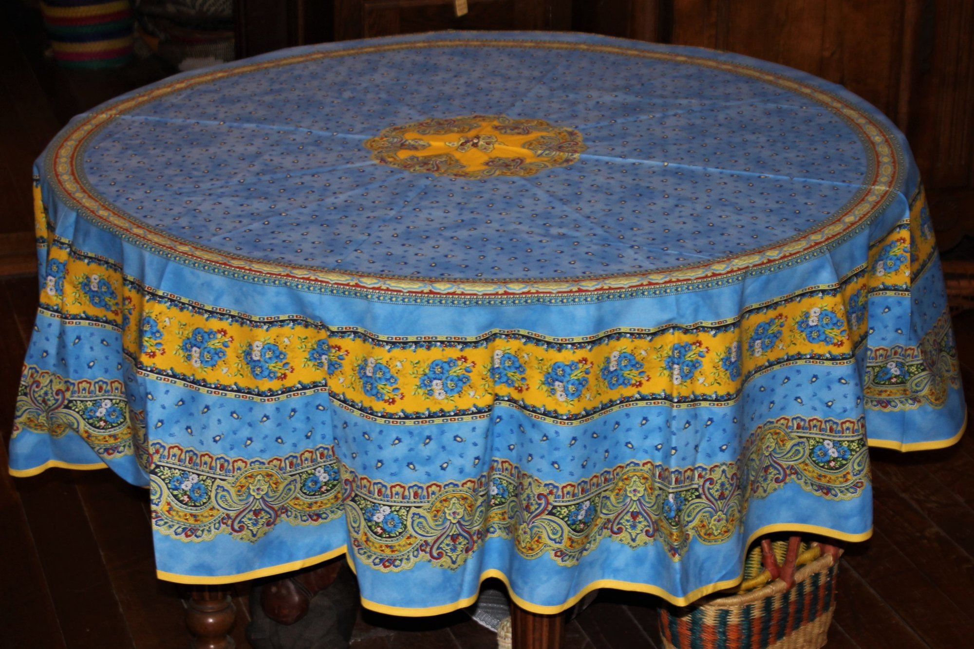 70 French Acrylic-Coated Round Tablecloth Tradition (Blue)