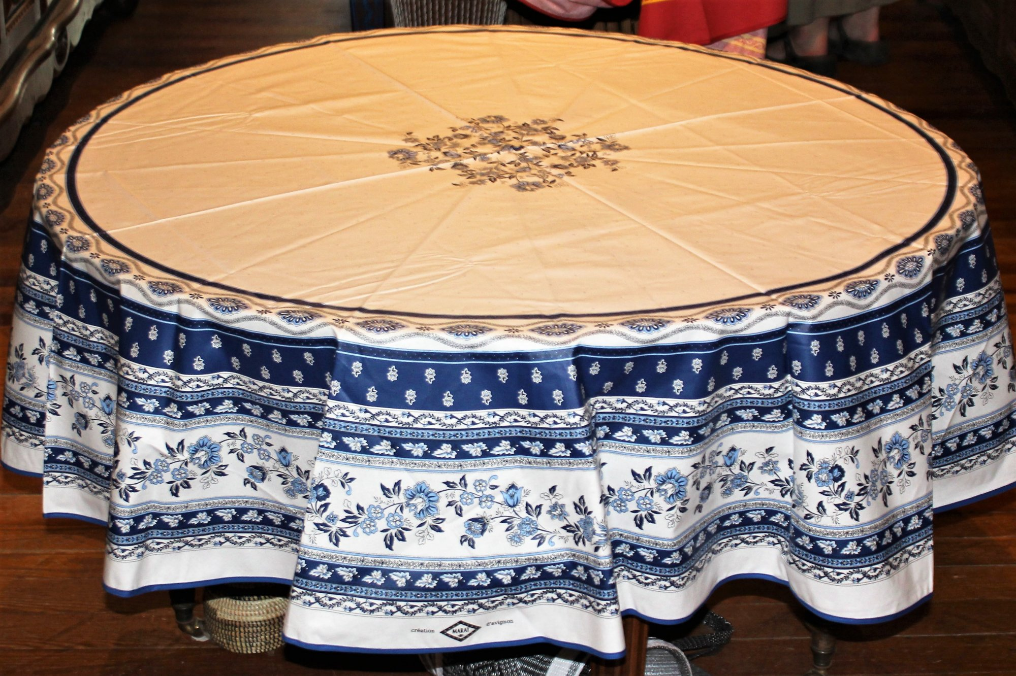 70 French Acrylic-Coated Round Tablecloth Avignon (Blue & White)