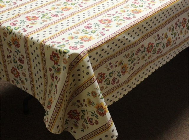 96 French Acrylic-Coated Rectangular Tablecloth Faience (Beige-Gold)
