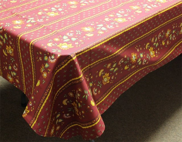 96 French Acrylic-Coated Rectangular Tablecloth Faience (Red)