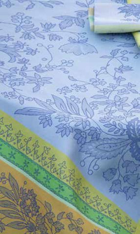 4 Sizes French Jacquard Tablecloths Cotignac (Blue)
