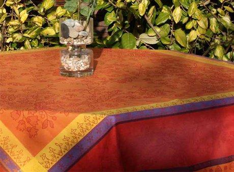 4 Sizes French Jacquard Tablecloths Cotignac (Orange)