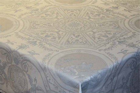 4 Sizes French Jacquard Tablecloths Exquisite (Tan & Gray)