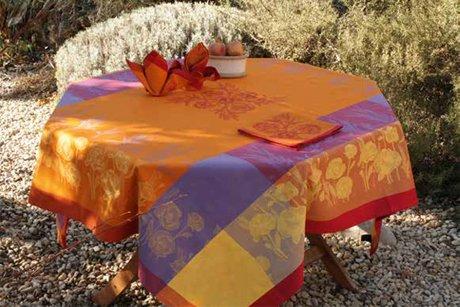4 Sizes French Jacquard Tablecloths Poppy (Orange)