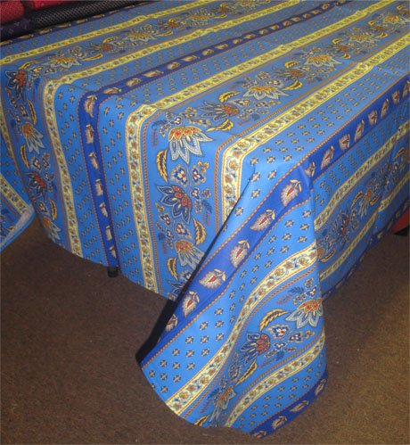 96 French Acrylic-Coated Rectangular Tablecloth Lisa (Blue)