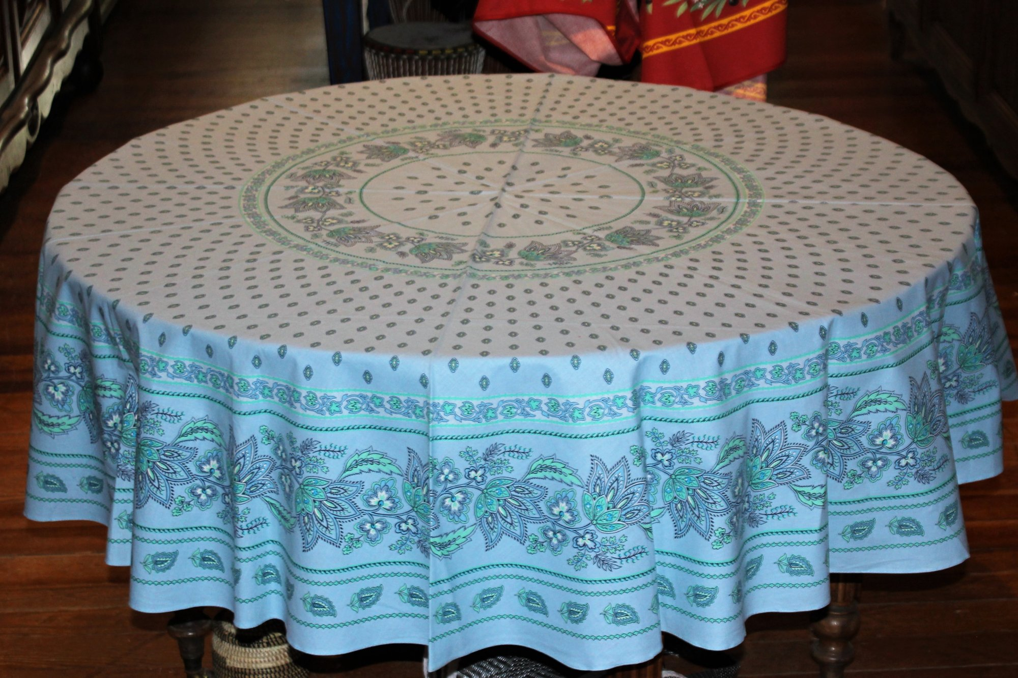 70 French Cotton Round Tablecloth Lisa (Light Blue)