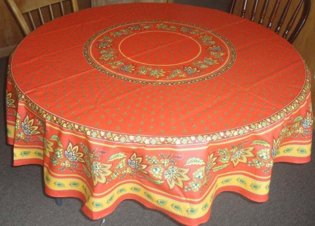 70 French Acrylic-Coated Round Tablecloth Lisa (Red)