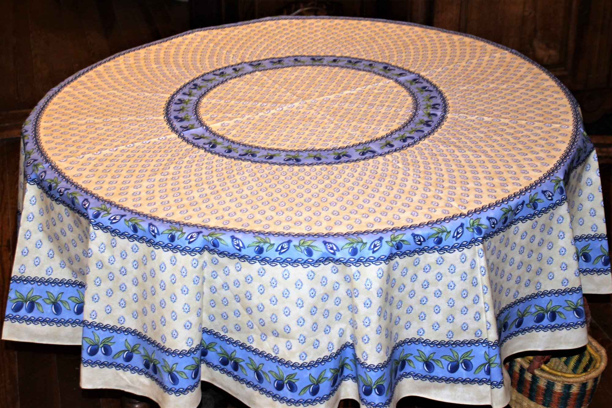 70 French Cotton Round Tablecloth Monaco (Blue & White)