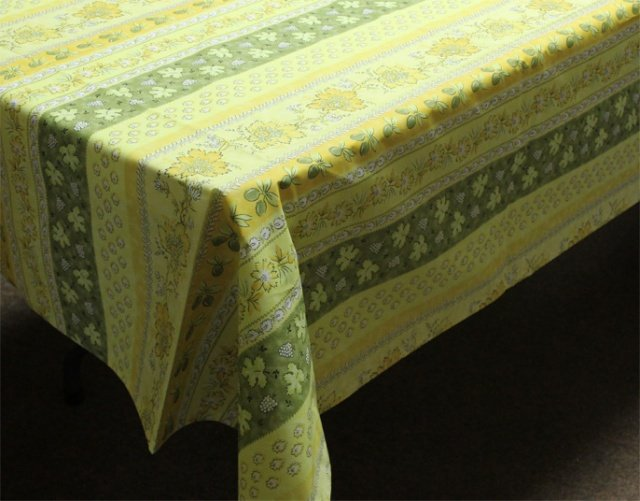 96 French Acrylic-Coated Rectangular Tablecloth Monaco (Green)