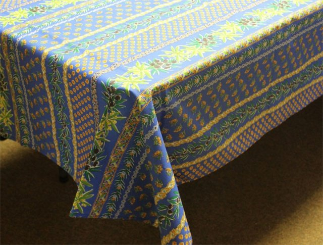 96 French Acrylic-Coated Rectangular Tablecloth Olive (Blue)